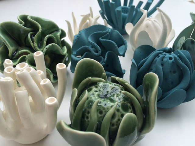 Small propagation sculptures in Green, white and turquoise colourways
